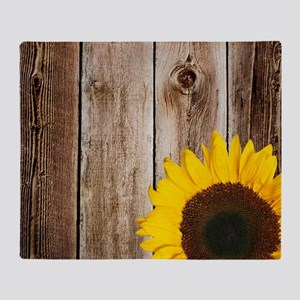 Rustic Barn Wood Sunflower Throw Blanket