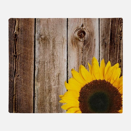 Rustic Barn Wood Sunflower Throw Blanket