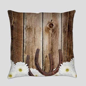 Rustic Barn Wood Horseshoes Everyday Pillow