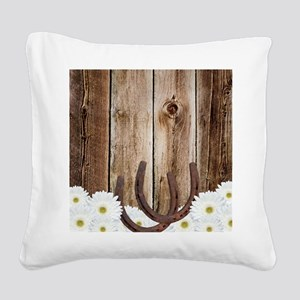 Rustic Barn Wood Horseshoes Square Canvas Pillow