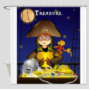 Pirate and Treasure Shower Curtain
