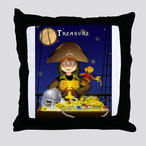 Pirate and Treasure Throw Pillow