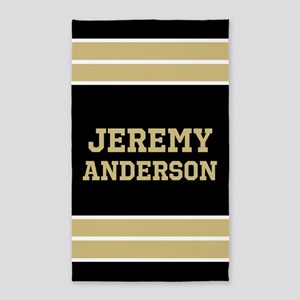 Gold and Black Sports Jersey Stripes Cust Area Rug