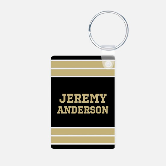 Gold and Black Sports Jers Aluminum Photo Keychain