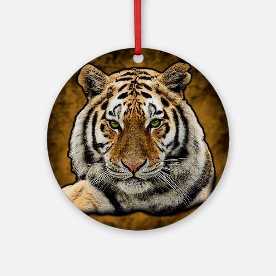 Funny Tiger cat Round Ornament