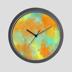 Abstract in Aqua, Orange, and Yellow Wall Clock