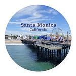 Santa Monica Round Car Magnet