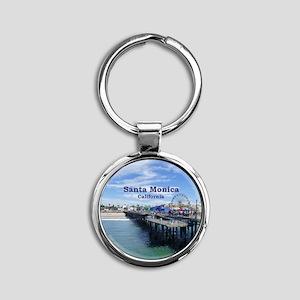 Santa Monica Round Keychain