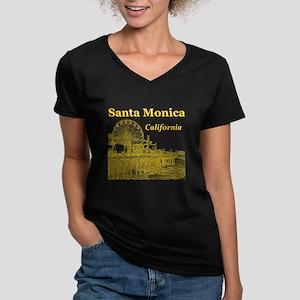 Santa Monica Women's V-Neck Dark T-Shirt