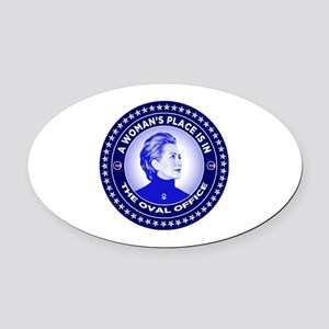 A Woman's Place is in the Oval Off Oval Car Magnet