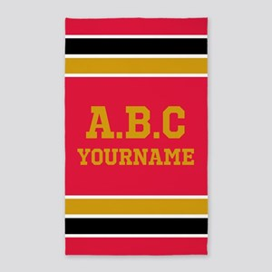 Black Vivid Red Sports Jersey Stripes Cu Area Rug