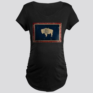 Wyoming Flag VINTAGE Maternity T-Shirt