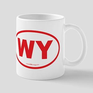Wyoming WY Euro Oval RED Mug