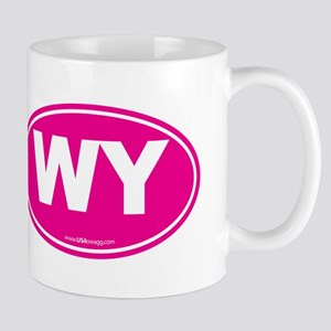 Wyoming WY Euro Oval PINK Mug