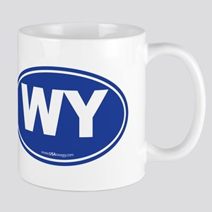 Wyoming WY Euro Oval BLUE Mug