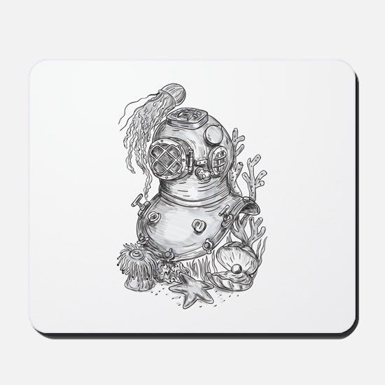 Old School Diving Helmet Tattoo Mousepad