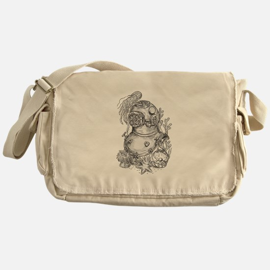 Old School Diving Helmet Tattoo Messenger Bag