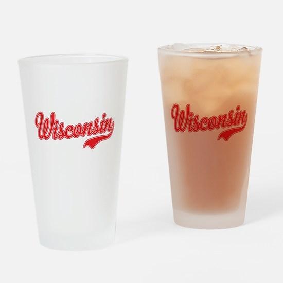 Wisconsin Script Font Drinking Glass