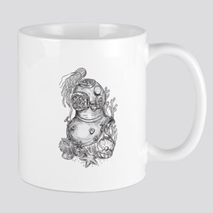 Old School Diving Helmet Tattoo Mugs