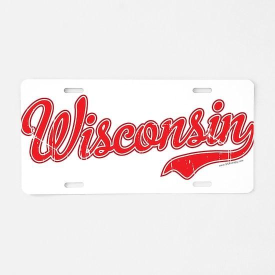 Wisconsin Script Font Vintage Aluminum License Pla