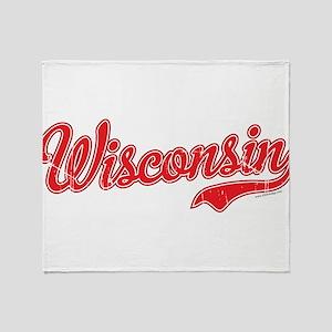 Wisconsin Script Font Vintage Throw Blanket