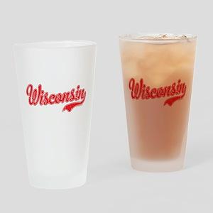 Wisconsin Script Font Vintage Drinking Glass
