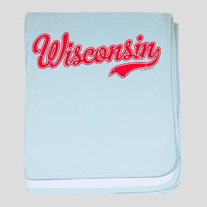 Wisconsin Script Font Vintage baby blanket