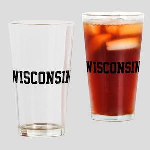 Wisconsin Jersey Black Drinking Glass