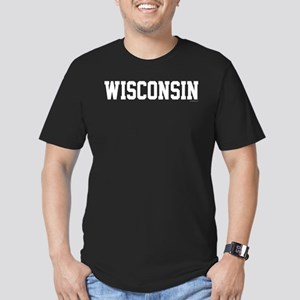 Wisconsin Jersey White Men's Fitted T-Shirt (dark)