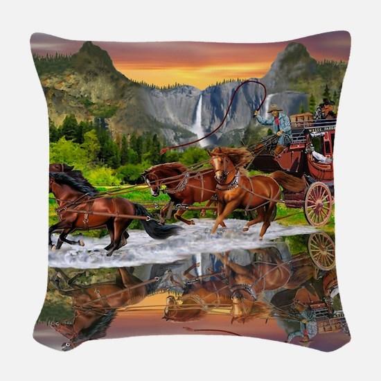 Wells Fargo Stagecoach Woven Throw Pillow