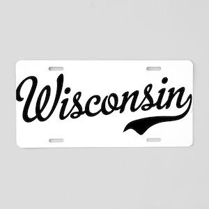 Wisconsin Script Black Aluminum License Plate