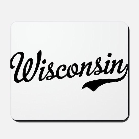 Wisconsin Script Black Mousepad