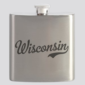 Wisconsin Script Black Flask