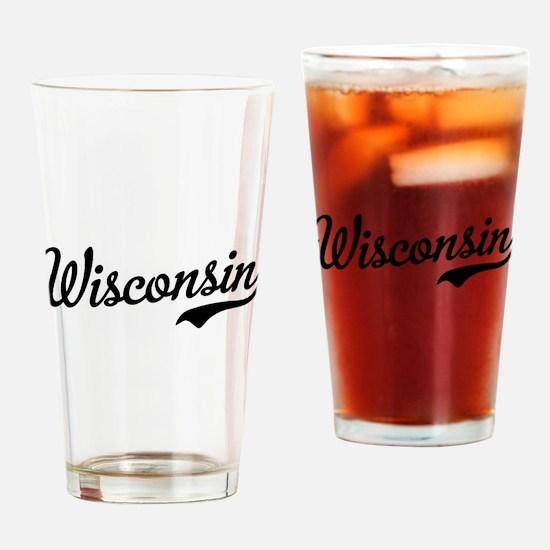 Wisconsin Script Black Drinking Glass