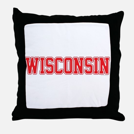 Wisconsin Jersey Red Throw Pillow