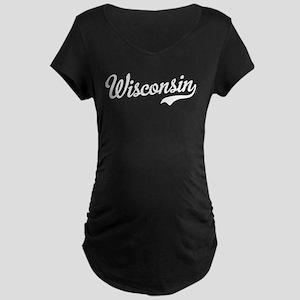 Wisconsin Script White Maternity Dark T-Shirt
