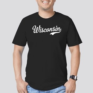 Wisconsin Script White Men's Fitted T-Shirt (dark)