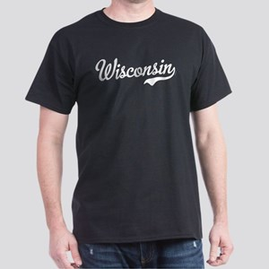 Wisconsin Script White Dark T-Shirt