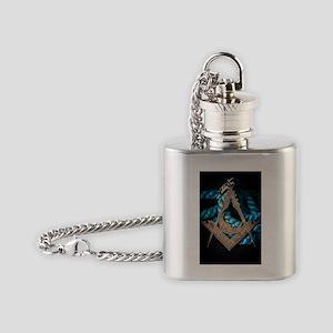 Antique Square &Compass Flask Necklace
