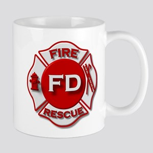 red white fire department symbol Mugs