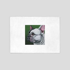 Pied French Bulldog 5'x7'Area Rug