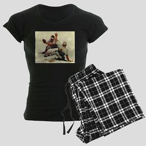 Vintage Sports Baseball Women's Dark Pajamas