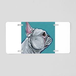 White French Bulldog Aluminum License Plate