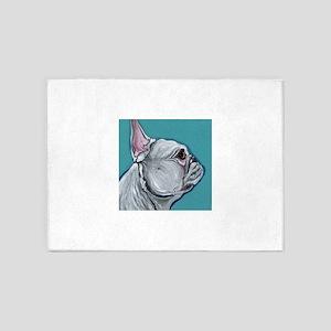 White French Bulldog 5'x7'Area Rug