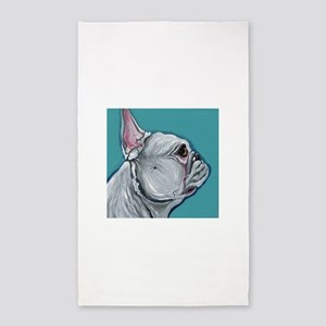 White French Bulldog Area Rug