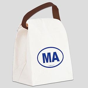 Massachusetts Euro Oval Green Canvas Lunch Bag