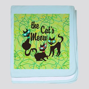 The Cat's Meow Green baby blanket