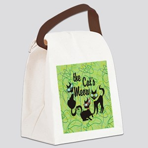 The Cat's Meow Green Canvas Lunch Bag