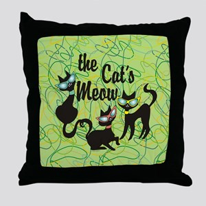 The Cat's Meow Green Throw Pillow
