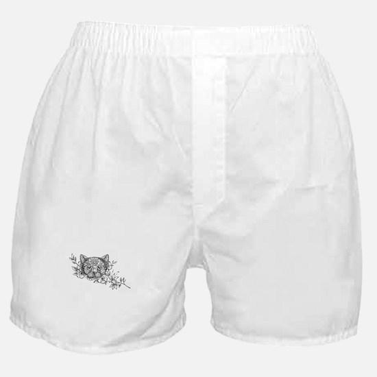 Cat Head Jasmine Flower Tattoo Boxer Shorts